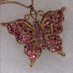 Betsey Johnson Pink Butterfly Necklace